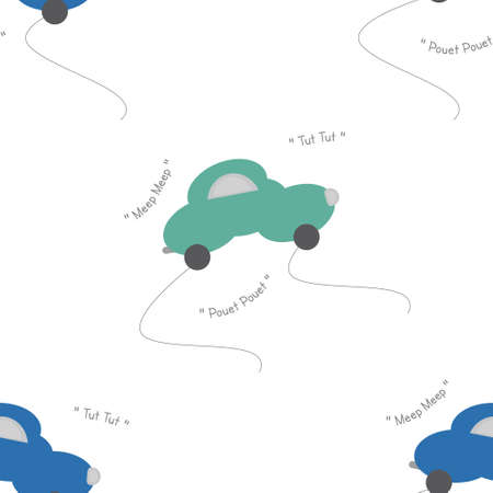 Funny green and blue cars in the shape of a cloud. With car noise. White background. Seamless pattern for kids. Vector illustration.