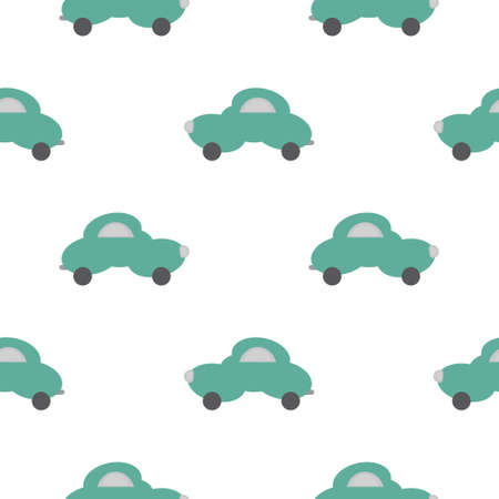 Funny green car in the shape of a cloud. White background. Seamless pattern for kids. Vector illustration. Banque d'images - 152323609