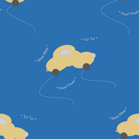 Funny yellow car in the shape of a cloud. With car noise. Blue background. Seamless pattern for kids. Vector illustration. Banque d'images - 152323607