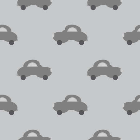 Funny gray car in the shape of a cloud. Light gray background. Seamless pattern for kids. Vector illustration. Banque d'images - 152323605