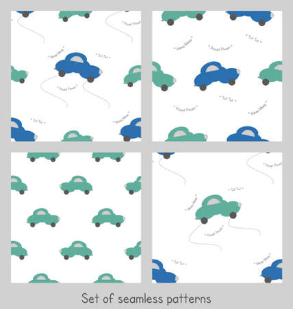 Funny green and blue cars in the shape of a cloud. With car noise. White background. Set of seamless patterns for kids. Vector illustration. Banque d'images - 152323613