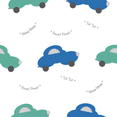 Funny green and blue cars in the shape of a cloud. With car noise. White background. Seamless pattern for kids. Vector illustration. Banque d'images - 152323611