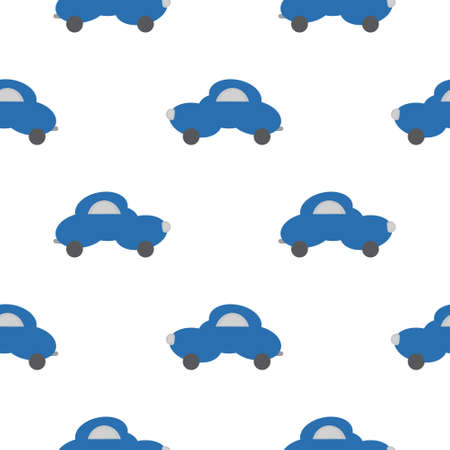 Funny blue car in the shape of a cloud. White background. Seamless pattern for kids. Vector illustration.