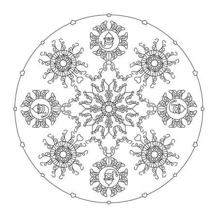 Christmas mandala. Santa head, fancy snowflakes and little hearts. Christmas coloring page. Vector illustration. Illustration