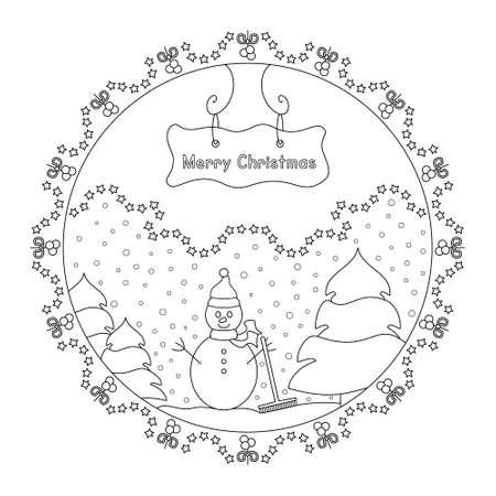 Snowman and tree. Snow falling. Winter decor. Christmas mandala. Coloring page christmas theme. Vector illustration