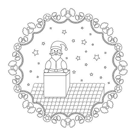 Christmas mandala. Santa Claus coming out of the fireplace and Garland of angels. Christmas coloring page. Noir et blanc. Vector illustration. Illustration