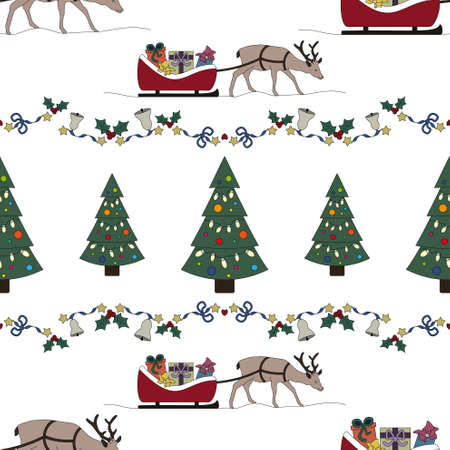 Reindeer and his sleigh full of gifts. Garland holly, star and and christmas bell. Christmas tree. Christmas seamless pattern. Transparent background. Vector illustration.
