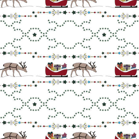 Christmas seamless pattern. Reindeer and his sleigh. Christmas presents. Star garland. Transparent background. Vector illustration.