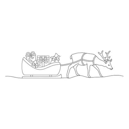 Christmas reindeer and his sleigh full of gifts. Coloring page. Vector illustration. Illustration