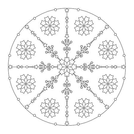Christmas coloring page. Mandala stars and abstract. Art Therapy. Noir et blanc. Vector illustration.