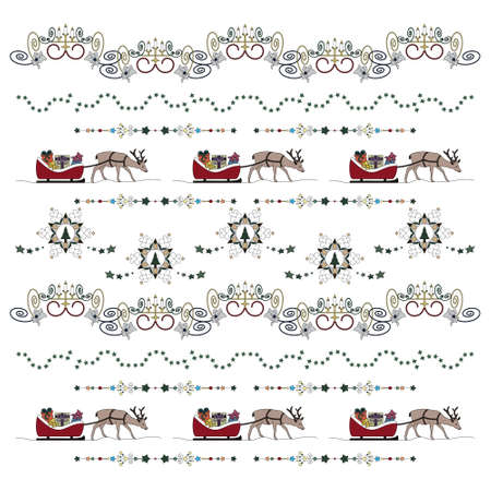 Reindeer and his sleigh full of gifts. Star garland, christmas tree and Fancy candle holder. Christmas pattern. Transparent background. Vector illustration.