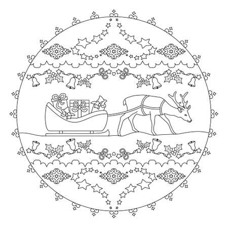 Santa's sled filled with gifts. Pretty reindeer. Christmas mandala. Vector illustration.