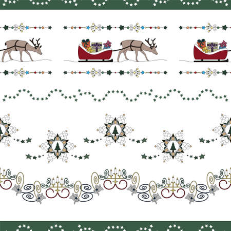 Christmas seamless pattern. Reindeer and his sleigh full of gifts. Star garland, christmas tree and Fancy candle holder. Transparent background. Vector illustration.