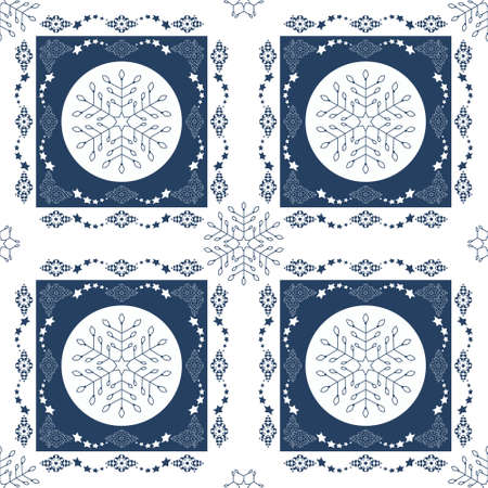 Seamless pattern christmas theme. Pretty snowflakes and frieze with stars. Blue and white. Vector illustration. Illustration