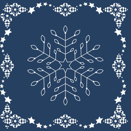 Pattern christmas theme. Snowflakes and frieze with stars. Colors blue and white. Vector illustration.