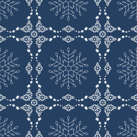 Seamless pattern christmas theme. Pretty snowflakes and frieze with stars. Colors white and blue. Vector illustration.
