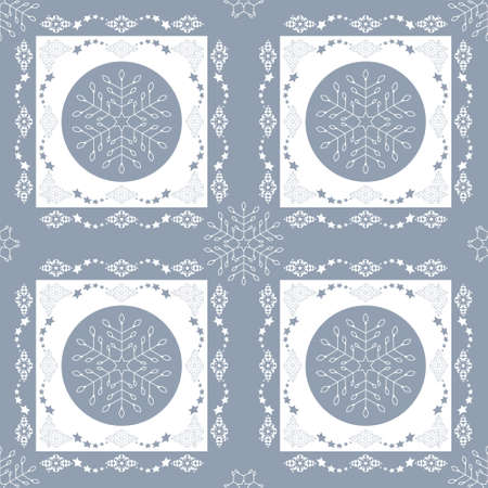 Seamless pattern christmas theme. Snowflakes and frieze with stars. Pretty colors ice blue and white. Vector illustration.