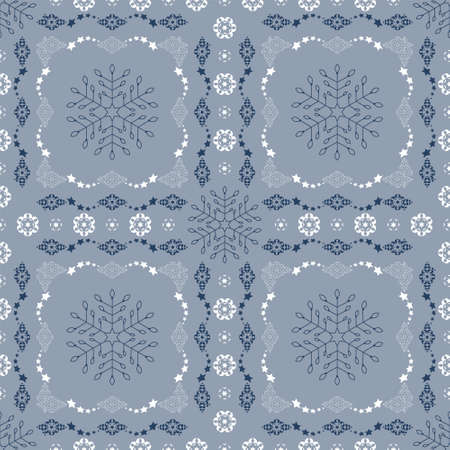 Seamless pattern christmas theme. Snowflakes and frieze with stars. Pretty colors ice blue, blue and white. Vector illustration. Illustration
