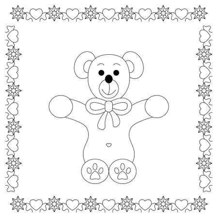 Cute christmas teddy bear. Coloring page. Vector illustration Illustration