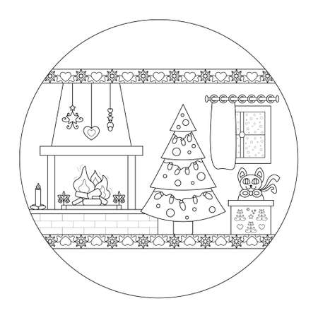 Wood fire chimney, Christmas tree and cat coming out of a gift box. Comforting atmosphere. Christmas mandala. Vector illustration.