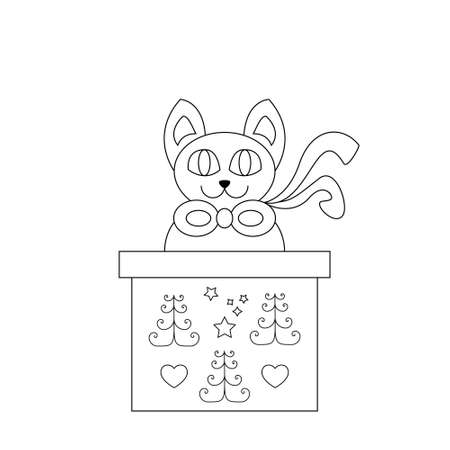 Cat coming out of a gift box. Funny. Christmas theme. Coloring page.