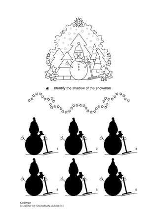 The shadows game. Snowman and fir forest, falling snow. Christmas theme. Educational matching game. Vector illustration. English language.