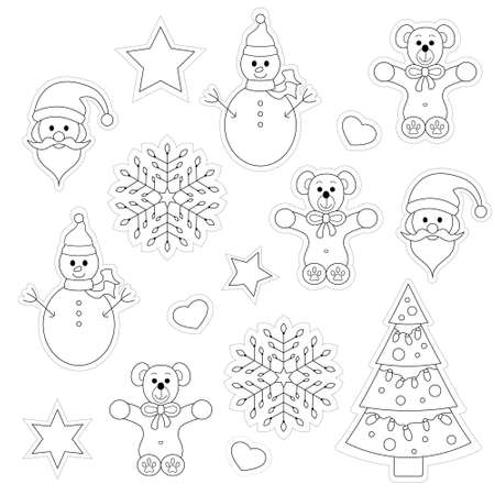 Set of christmas decoration and characters. Drawings to color and cut out. Vector illustration.