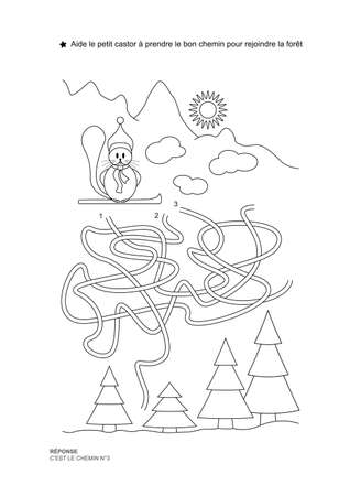The maze game. Christmas theme. Help the little beaver get on the right path. Game and coloring. Vector illustration. French language.