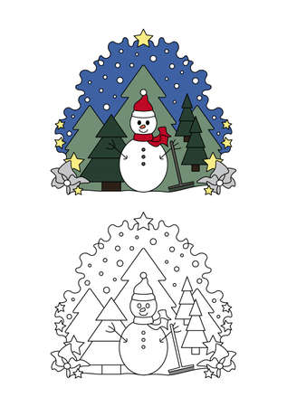 Christmas coloring page. Snowman and fir forest, falling snow. Coloring for kids.