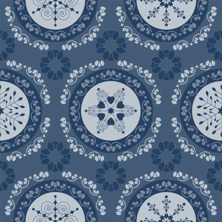 Seamless pattern christmas theme. Pretty mandalas and Frieze around with angels. Snowflakes, hearts and spirals. Colors white and blue. Illustration