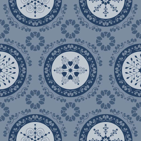 Seamless pattern christmas theme. Pretty mandalas and Frieze around with angels. Snowflakes, hearts and spirals. Color blue. Illustration
