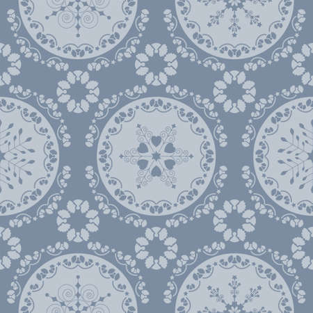 Seamless pattern christmas theme. Pretty mandalas and Frieze around with angels. Snowflakes, hearts and spirals. Color pastel blue.