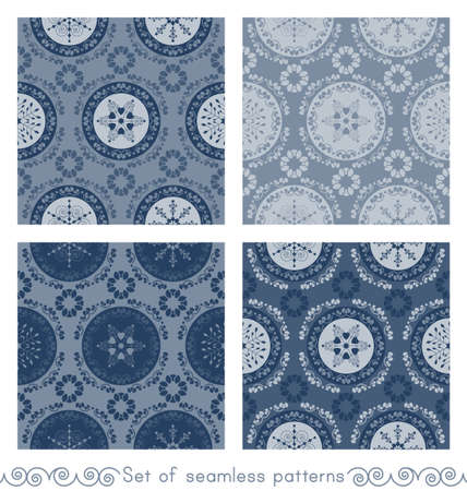 Set of seamless patterns christmas theme. Pretty mandalas and Frieze around with angels. Snowflakes, hearts and spirals. Colors white and blue. Vector illustration. Illustration