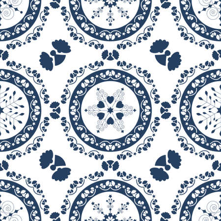Seamless pattern christmas theme. Pretty mandalas and Frieze around with angels. Snowflakes, hearts and spirals. Colors white and blue. Vector illustration. Illustration