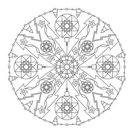 Christmas mandala. Coloring page. Christmas ball and fir tree. Noir et blanc. Vector illustration. Illustration