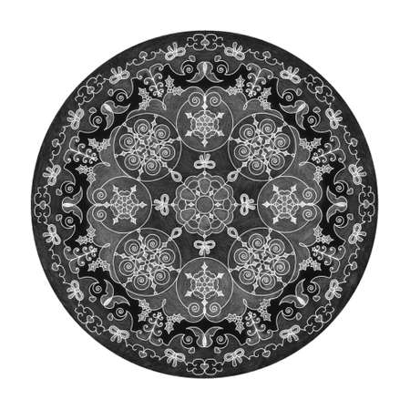 Colored pencil effects. Mandala illustration black, white and gray. Christmas ball, butterfly, heart and Christmas tree.