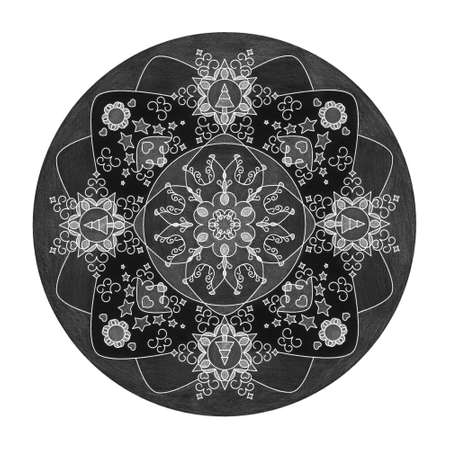 Colored pencil effects. Christmas theme. Mandala illustration black, white and gray. Christmas tree, star and heart.