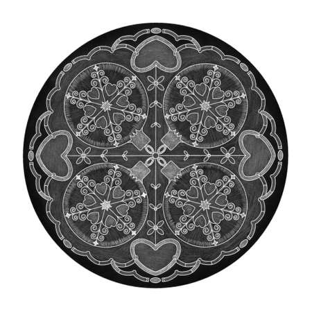 Colored pencil effects. Christmas theme. Mandala illustration black, white and gray. Christmas ball and heart. Banque d'images