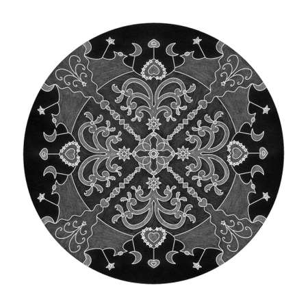 Colored pencil effects. Christmas mandala illustration black, white and gray. Fancy christmas tree and little hearts. Banque d'images