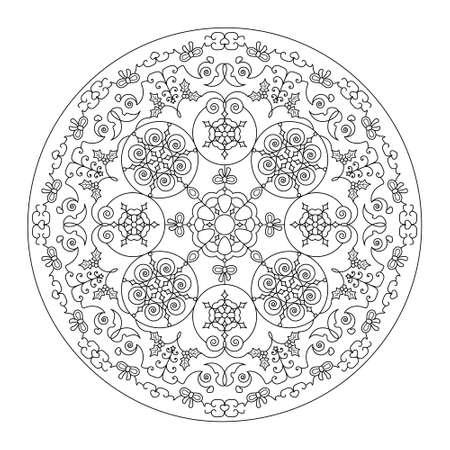 Christmas coloring page. Pretty mandala with Christmas ball, butterfly, heart and Christmas tree.