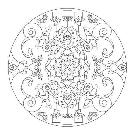 Christmas coloring page. Mandala. Santa claus and little doves carrying gifts. Noir et blanc. Vector illustration.