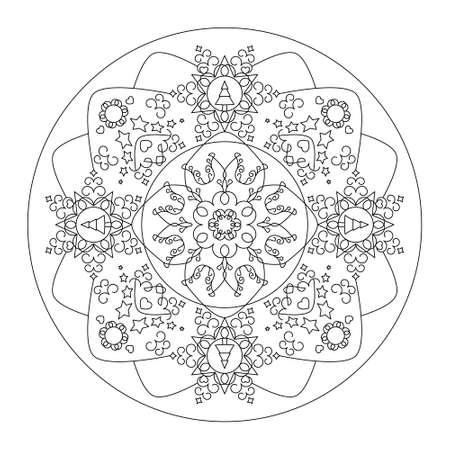 Christmas mandala. Coloring page. Pretty Christmas tree, star and heart. Noir et blanc. Vector illustration.