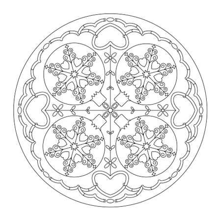 Christmas mandala. Coloring page. Pretty Christmas balls and hearts. Noir et blanc. Vector illustration.