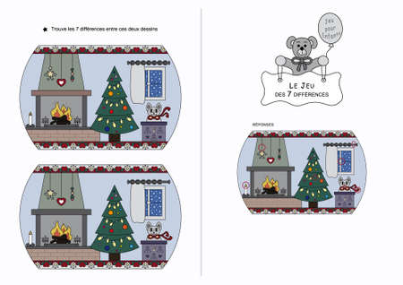 The game of seven differences. Game for kids. Christmas theme. French language. Illustration