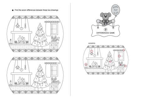 The game of seven differences. Game for kids. Christmas theme. Noir et blanc. English Language.