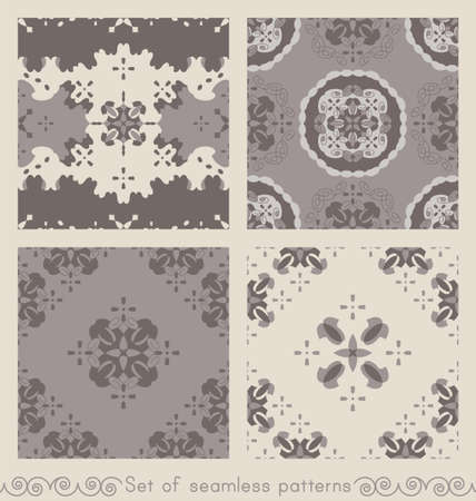Set of retro, vintage seamless patterns. Chocolate color, cream ivory and gray. Spirals and abstract. Vector. Illustration
