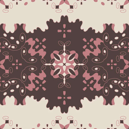 Seamless retro, vintage pattern. Chocolate color, pink and cream ivory. Spirals and abstract. Vector.