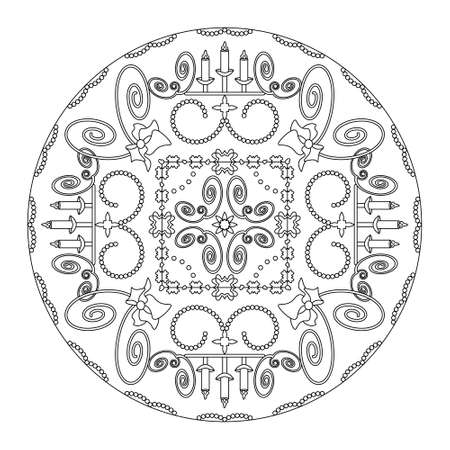 Christmas coloring page. Mandala with candle holders and spirals. Art Therapy. Noir et blanc. Vector illustration