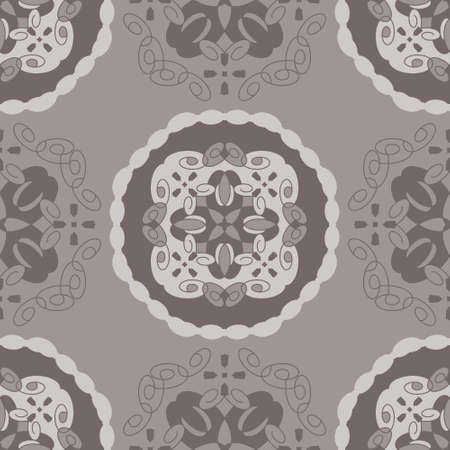 Seamless retro, vintage pattern. Chocolate color and gray. Spirals and abstract. Vector.