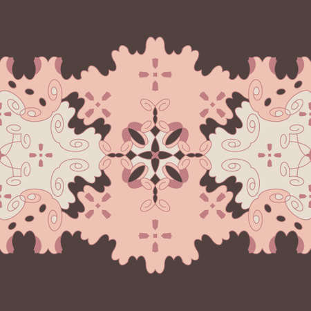 Seamless retro, vintage pattern. Chocolate color, pink, pastel orange and cream ivory. Spirals and abstract. Vector.